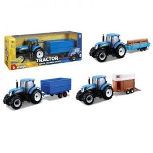 1:32 NEW HOLLAND FARM TRACTOR+TRAIL
